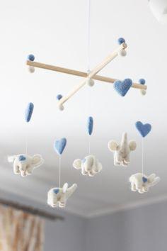 Lullaby Angels   Needle Felted Elephant Mobile Nursery Decor