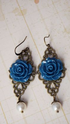 20 off SALE resin rose and pearl filigree dangle by VerdigrisGifts, $13.00