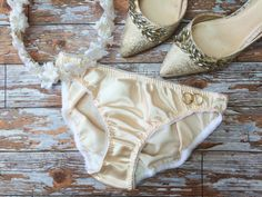 Peach Fizz' Satin Bridal Knickers Panties by 1LuckySewandSew