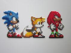 Sonic, Tails, Knuckles perler bead sprites by 8-BitBeadsStudio on deviantART