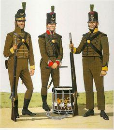 PORTUGUESE CAZADORES (Left) Rifleman 3rd Cazadores 1808-1809 (Center) Drum 5th Cazadores.1810 -15. Right) Rifleman 6th Cazadores. 1810-15.