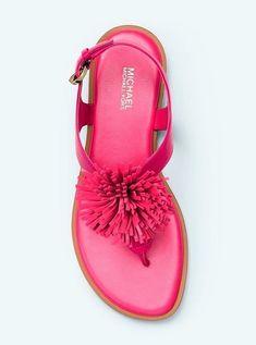 681685f39c1 Michael Kors Lolita Pom Pom Leather Sandals Ultra Pink Size 7.5M New   MichaelKors