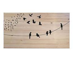 Cabecero en madera de pino Pájaros, natural - 150x80 cm