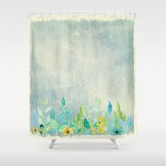flowers in a meadow - Floral watercolor illustration Shower Curtain