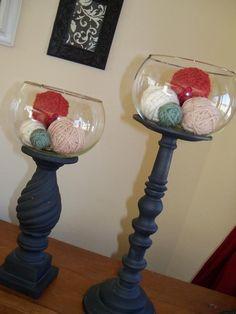 DIY jar fillers- cover styrofoam balls with yarn, twine & more