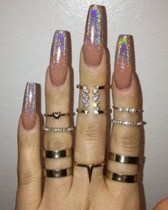 Long nude nails with glittered tips - LadyStyle