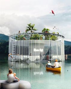 Many of us dream about a summer house by the sea; Conceptual Architecture, Architecture Student, Art And Architecture, Pool Bar, House By The Sea, Pink Houses, House Roof, Pool Designs, Landscape Design