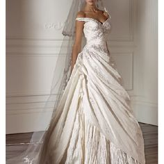 A-line Off The Shoulder Wedding Dresses with Sweetheart Neckline for Bride Style1118