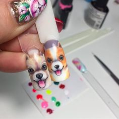 Cartoon Nail Designs, Animal Nail Designs, Animal Nail Art, Nail Art Designs, Dark Nail Art, Nail Drawing, Nail Art Techniques, Nails First, Dog Nails