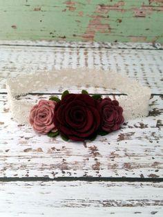Hey, I found this really awesome Etsy listing at https://www.etsy.com/listing/225464605/felt-flower-headband-burgundy-pink-plum
