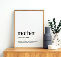 Mother Definition Printable Art, Mother Gift, Mother Printable Decor, Mothers Day Print, Mother Quote Printable Wall Art *Instant Download* Father Quotes, Family Quotes, Printing Websites, Online Printing, Printable Quotes, Printable Wall Art, Family Definition, Father Definition, Travel Wall Art