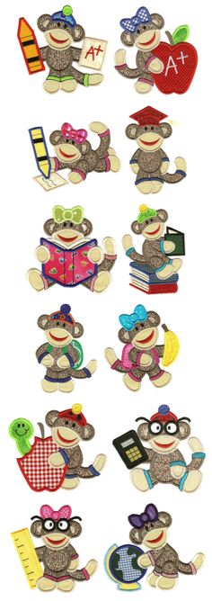 Embroidery | Applique Machine Embroidery Designs | School Sock Monkeys Applique