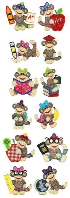 I love Sock Monkeys .... Applique Machine Embroidery Designs--Back to School Sock Monkeys Applique by Designs by JuJu