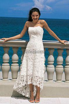 Column Natural Waist Strapless Lace Tea Length Wedding Dress