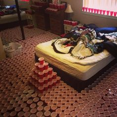 """""""The 21 Funniest Roommate Trolls Of All Time"""" ~While they're sleeping, fill the cups with water."""