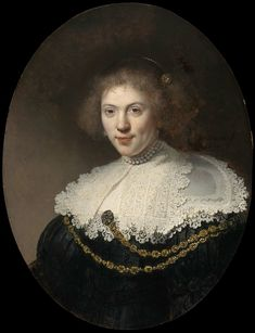 Rembrandt, Portrait of a Woman Wearing a Gold Chain, 1634 | Museum of Fine Arts, Boston. Rembrandt captures the viewer's attention with his vivid presentation of the woman's engaging personality and the dazzling rendering of her multi-layered lace collar and gold chain. Rembrandt's technique was already daring; he has scratched the highlights of his subject's curly hair into the wet paint with the butt end of his brush.