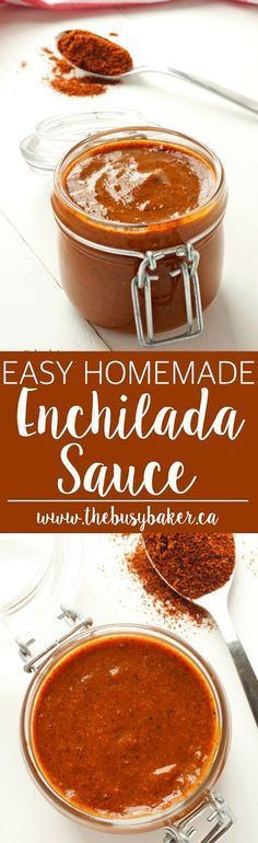 This Easy Homemade Enchilada Sauce is so easy to make with basic pantry staples! Recipe by www.thebusybaker.ca