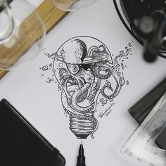 Ink Drawings in Various Styles - Octopus Light Bulb. Ink Drawings in Various Styles. Click the image, for more art by Joseph Catimba - Unique Drawings, Cool Art Drawings, Pencil Art Drawings, Art Drawings Sketches, Tattoo Drawings, Hand Tattoos, Octopus Tattoos, Small Tattoos, Side Thigh Tattoos