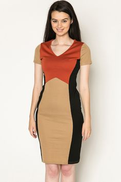 Colour Block Panel Bodycon Dress @ Everything5pounds.com