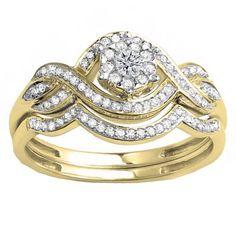 10k White Gold 3/8 Round Diamond Bridal Band Set (H-I, I1-I2) (Size