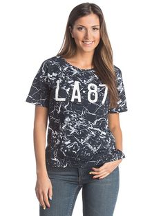 Γυναικεία Κοντομάνικη Μπλούζα με στάμπα COLLEZIONE - σκούρο μπλε