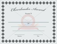 Cheerleader award certificate template pinterest cheerleading cheerleader award yadclub Images