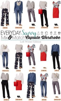 This Loft Winter to Spring Capsule Wardrobe will help you look great with no thinking required just mix and match the pieces for 15 outfits!