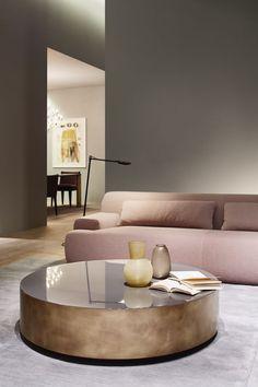 Gold and pink interior design: BELT table - Salone del Mobile 2015 - design Andrea Parisio for Meridiani