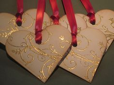 Valentine Tags Gift Tags Wish Tree Tags- Gold Embossed Scroll Hearts- Vintage Appearance - Set of 5