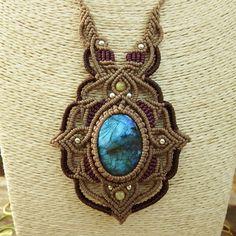 Macrame Necklace Pendant Labradorite Stone Quartz Waxed Cord Handmade Cabochon #Handmade #Pendant