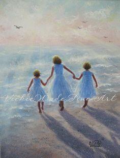 Imagine Three Beach Girls Art Print three by VickieWadeFineArt