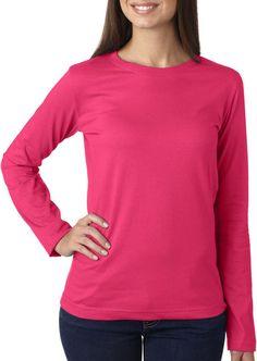 la t ladies' combed ring-spun jersey long-sleeve t-shirt - hot pink (2xl)