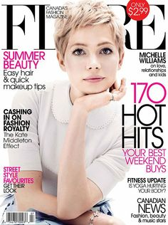Michelle Williams Covers 'Flare' July 2012 Michelle Williams graces the cover of Flare's July issue. Short Pixie Haircuts, Short Hair Cuts, Short Hair Styles, Pixie Haircut For Round Faces, Michelle Williams Pixie, Great Hair, Pixie Cut, Hair Dos, Pretty Hairstyles