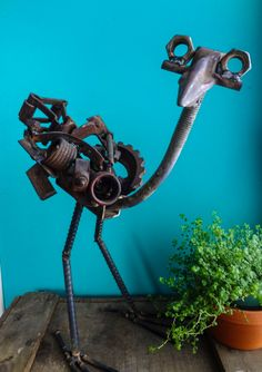 Rustic Metal Sculpture Heron Indoor Outdoor by TheRustyOldBuzzard, $240.00