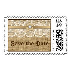 White lace, linen burlap wedding Save the Date Stamps. This great stamp design is available for customization or ready to buy as is. Of course, it can be sent through standard U.S. Mail. Just click the image to make your own!