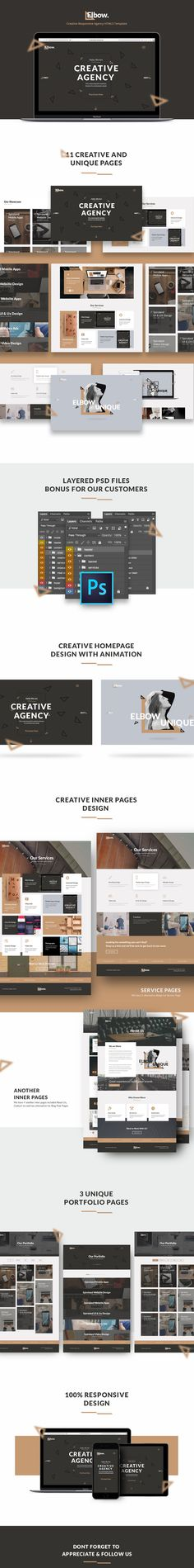 Elbow is a unique and simple template design, perfect for you digital agency. it is fully responsive and its look fabulous in Tablet, Mobile Phone, and Desktop.
