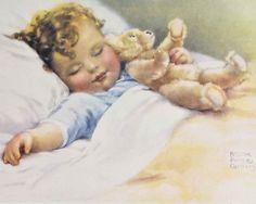 Happy Dreams, Bessie Pease Gutmann ,with a teddy bear