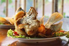 Ikan Gurame Terbang Goreng,fried flying gourami fish served with herbs and sambal