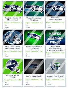 Seattle Seahawks Printable Digital Valentines Day Cards #2