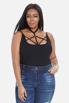 Plus Size Venus Cage Front Bodysuit