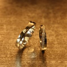 His and Hers Matching Wedding Bands 14k White Gold by LaMoreDesign