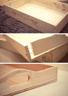 Imagination needed. I& going to turn a serving-tray into a Sequence board game. Diy Wood Box, Wooden Diy, Do It Yourself Furniture, Diy Furniture, Wood Projects, Woodworking Projects, Wooden Wine Boxes, Wine Crates, Wooden Serving Trays