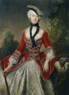 Sophie Marie Gräfin Voss, 1746 Tricornes, or the three cornered hat was often worn with one point forward. These hats were worn for riding. This was a fashion common for men during this time period, however Sophie is sporting one in the portrait.