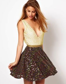 Virgos Lounge Amy Embellished Skater Dress with Low Neck