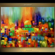 Colorful Art Original Abstract Painting On Canvas by OsnatFineArt Pintura Graffiti, Arte Judaica, Art Original, Jewish Art, Contemporary Paintings, Painting Inspiration, Art Lessons, Painting & Drawing, Amazing Art