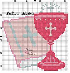 Com Comunion Cross Stitch Samplers, Cross Stitching, Cross Stitch Embroidery, Embroidery Patterns, Diy Finger Knitting, Cross Stitch Alphabet Patterns, Christmas Journal, Religious Cross, Bead Kits