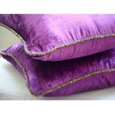 Purple Shimmer - Throw Pillow Covers - 16x16 Inches Velvet Pillow Cover with a handmade beaded border