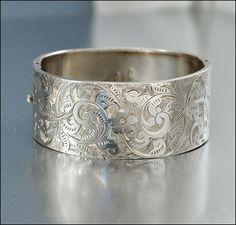 Sterling Silver Bangle Bracelet Antique Jewelry by boylerpf, $245.00
