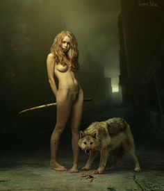 no blood, wolf or sword love the ways she's standing - feet, legs, hips love her hair and look on her face shape of her body