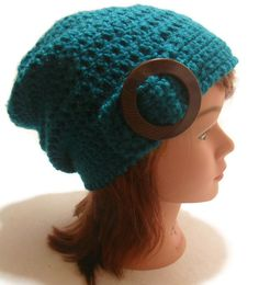 Crochet Teal Slouchy Beanie Hat Buckle Tab by AddSomeStitches Slouchy Beanie Hats, Knit Crochet, Crochet Hats, Teal, Turquoise, Winter Warmers, Gift Guide, Crocheting, Diys